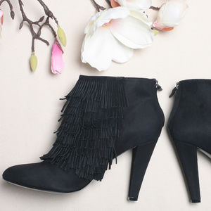 BANANA REPUBLIC Black Suede Fringe Ankle Boots
